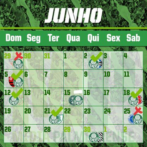 Agenda Junho 2016 Palmeiras