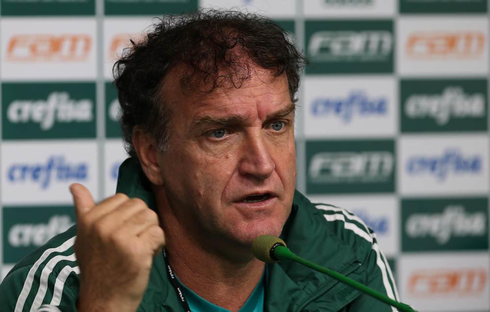 Cuca concedeu entrevista coletiva na Academia de Futebol nesta sexta-feira (04). (Cesar Greco/Ag.Palmeiras/Divulgação)