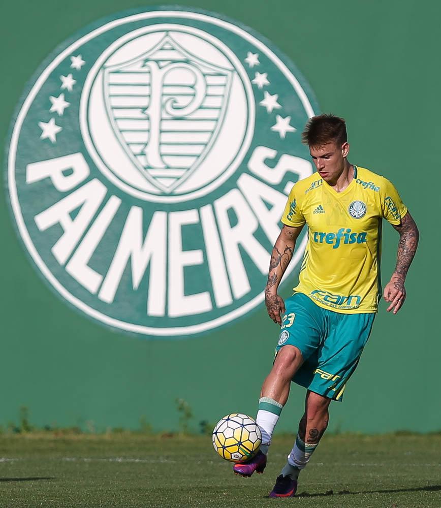Róger Guedes trabalhou normalmente após ter se recuperado de uma pancada na região do quadril. (Cesar Greco/Ag Palmeiras/Divulgação)