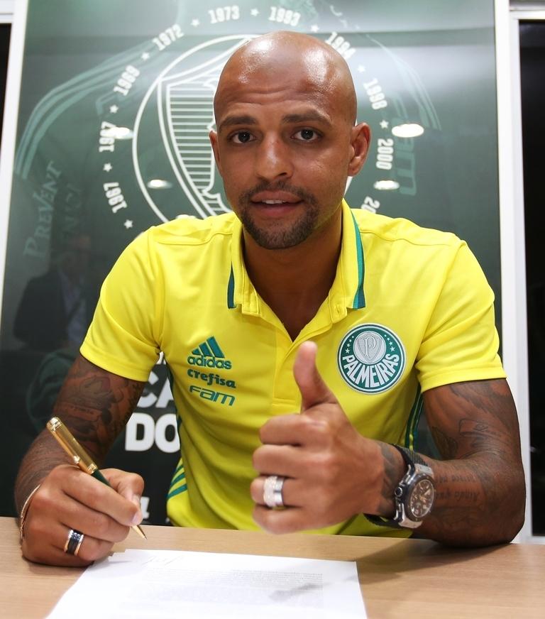Felipe Melo assinou com o Verdão por três temporadas. (Fabio Menotti/Ag Palmeiras/Divulgação)
