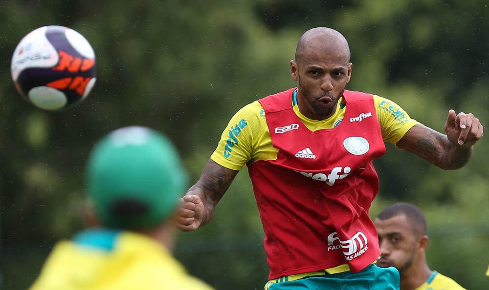 Felipe Melo fez parte da primeira formação que participou do jogo-treino. (Cesar Greco/Ag.Palmeiras/Divulgação)