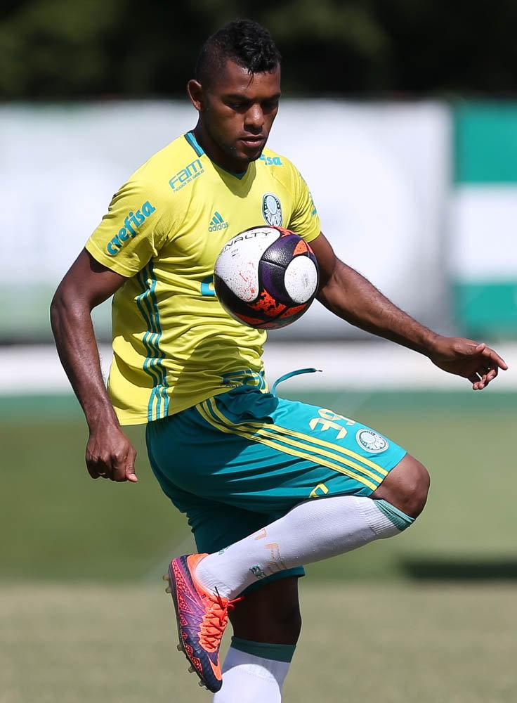 Borja se movimentou com os companheiros e com bola pela primeira vez desde que chegou. (Cesar Greco/Ag.Palmeiras/Divulgação)
