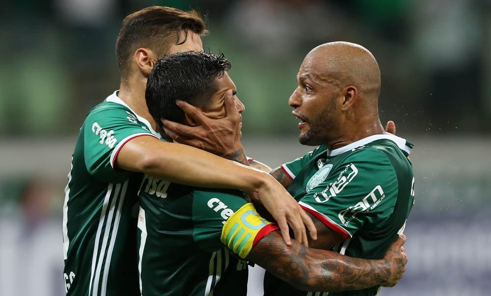 O atacante Dudu abriu o placar no Allianz Parque. (Cesar Greco/Ag Palmeiras/Divulgação)