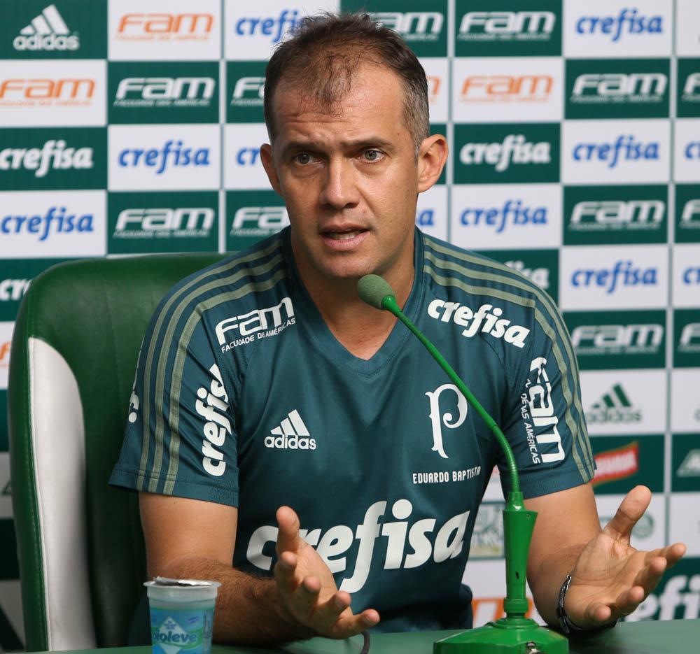 Na coletiva desta sexta-feira (14), Eduardo Baptista alertou sobre o estilo de jogo do rival de domingo. (Cesar Greco/Ag. Palmeiras/Divulgação)