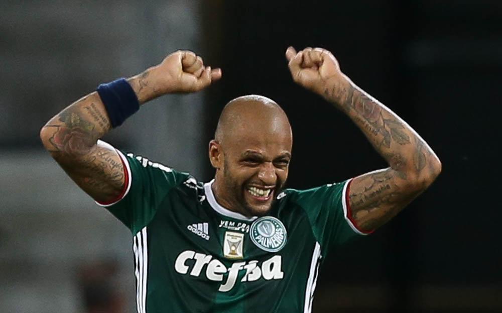 Felipe Melo comemora seu gol contra o Mirassol. (Cesar Greco/Ag. Palmeiras/Divulgação)