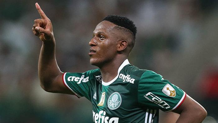 Em seu primeiro jogo de Libertadores pelo Verdão, Mina fez a alegria da torcida. (Cesar Greco/Ag. Palmeiras/Divulgação)