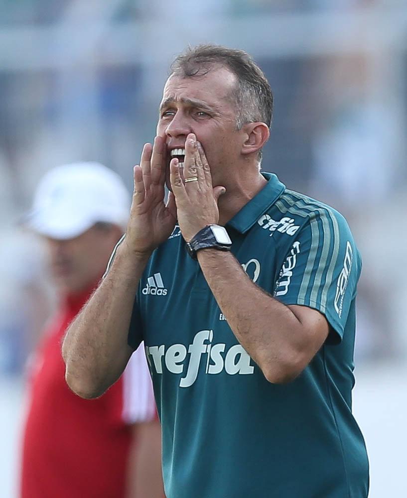 'Hoje estávamos sem reação, não foi aquele Palmeiras agressivo do último jogo', analisou Eduardo Baptista. (Cesar Greco/Ag Palmeiras/Divulgação)