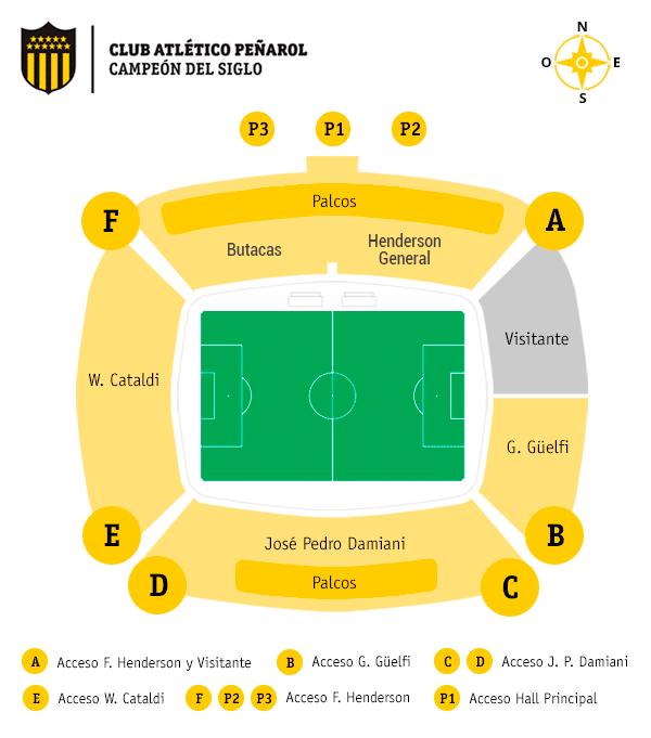 Torcida palmeirense ficará na Tribuna Guelgi (visitante), do Estadio Campeón Del Siglo (Divulgação).