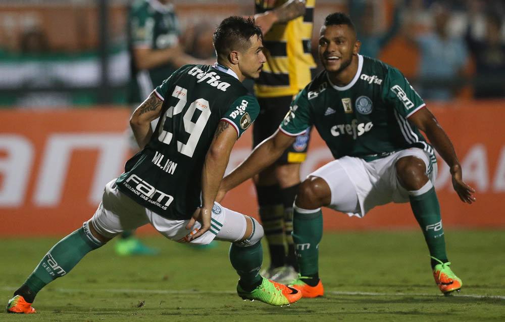 Willian e Borja foram para as redes diante do Novorizontino e conduziram o Verdão à vitória. (Cesar Greco/Ag. Palmeiras/Divulgação)